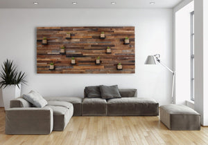 reclaimed wood floating shelf artwork