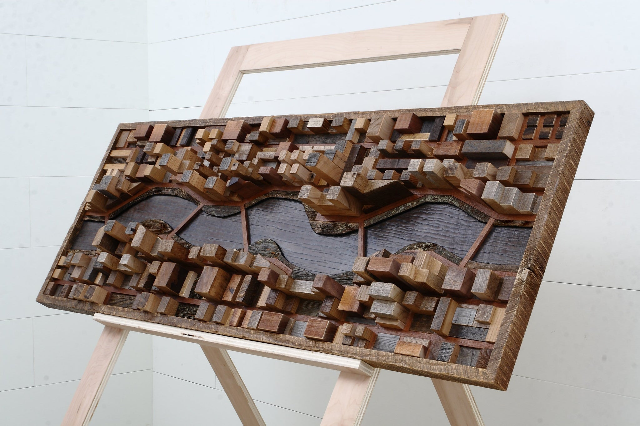 3 dimentional wood cityscape wall art