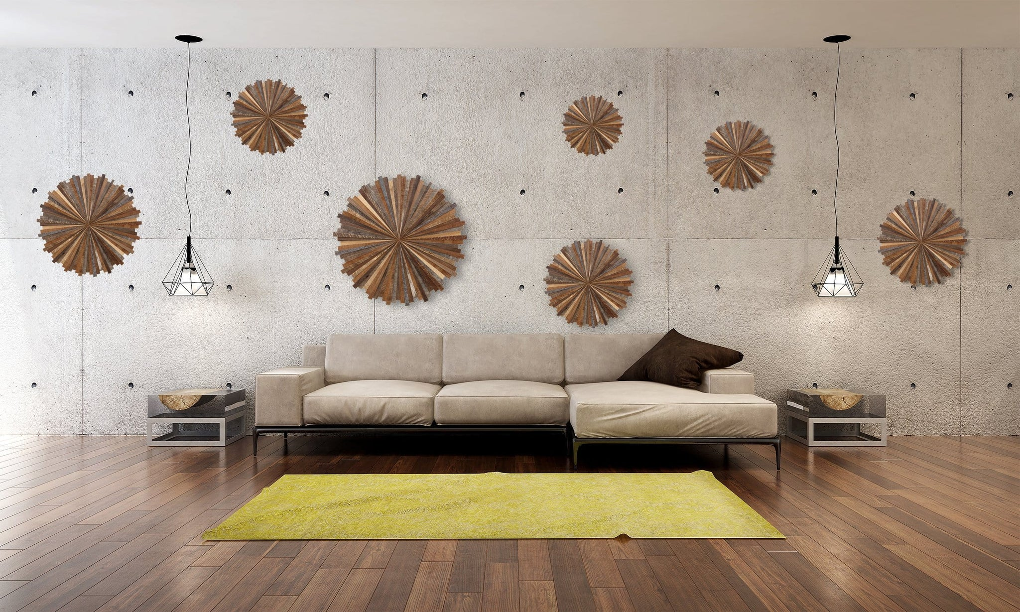 Starburst wood wall art