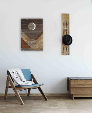Waxing crescent wood wall art