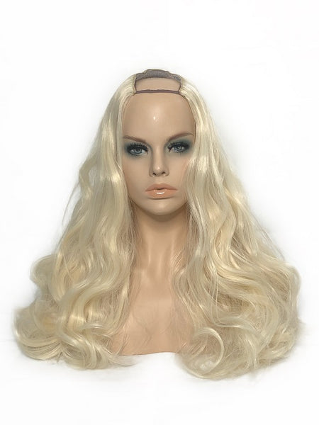 "U Part Clip In Hair Extensions Pure Bleach Blonde 24"" length 260 Grams - hairextensionsfullstop"