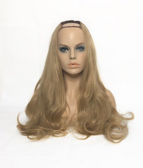 "U Part Clip In Hair Extensions Caramel Blonde 24"" length 260 Grams - hairextensionsfullstop"