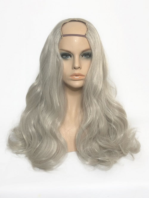 "U Part Clip In Hair Extensions Silver Blonde 24"" length 260 Grams - hairextensionsfullstop"