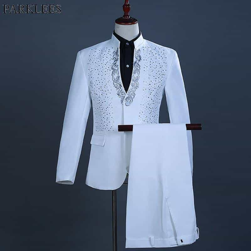 2 Pieces White One Button Gold Embroidery Diamond Suit, [variant_title], [option1], [option2], [option3] - anythinganyware