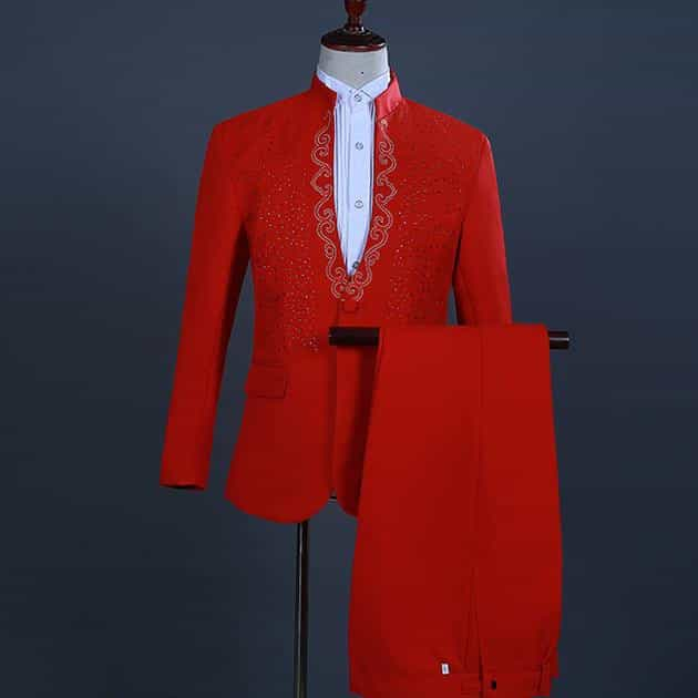 2 Pieces White One Button Gold Embroidery Diamond Suit, Red / L, Red, L, [option3] - anythinganyware
