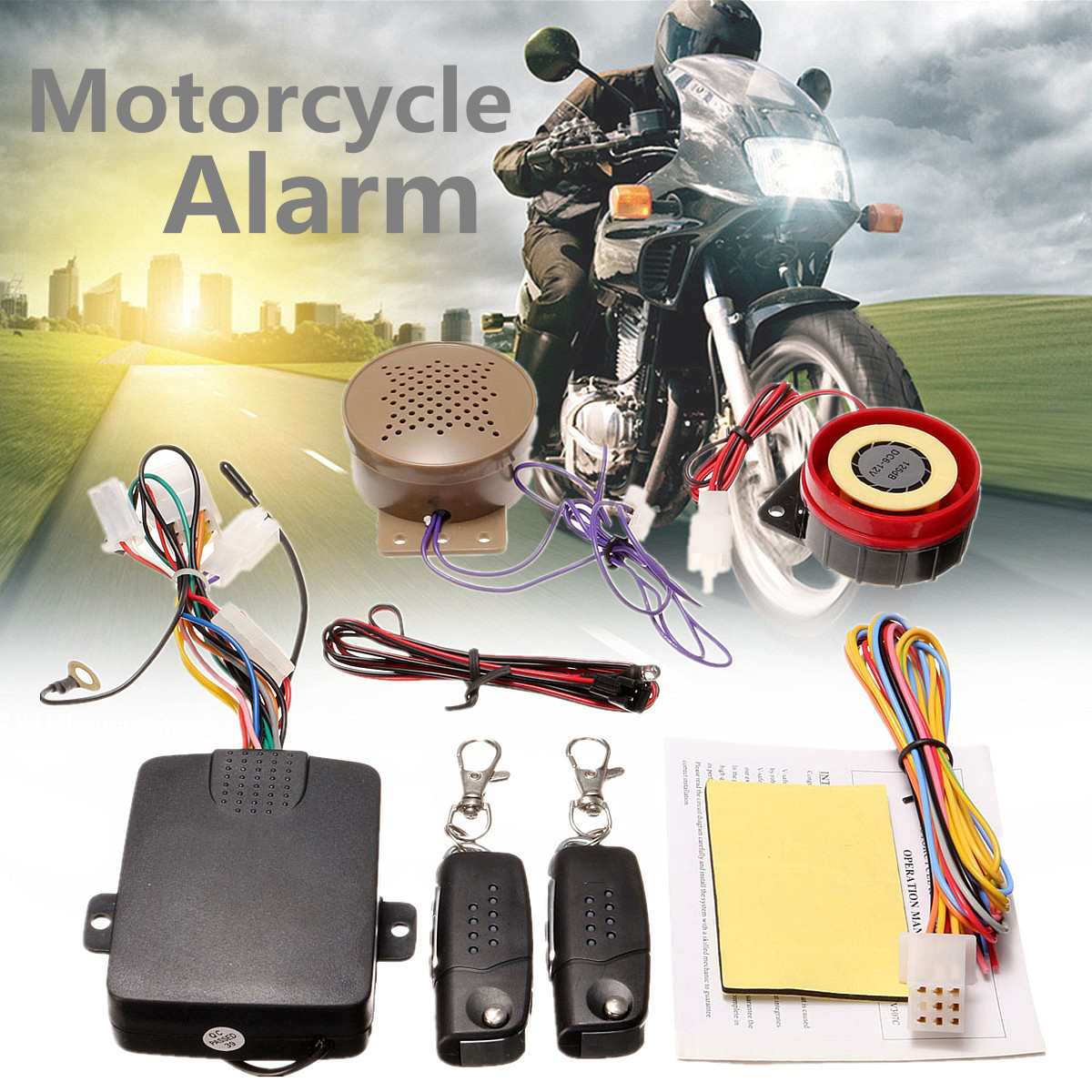 200M 2 Remote Controllers Motorcycle Alarm System Lock, [variant_title], [option1], [option2], [option3] - anythinganyware