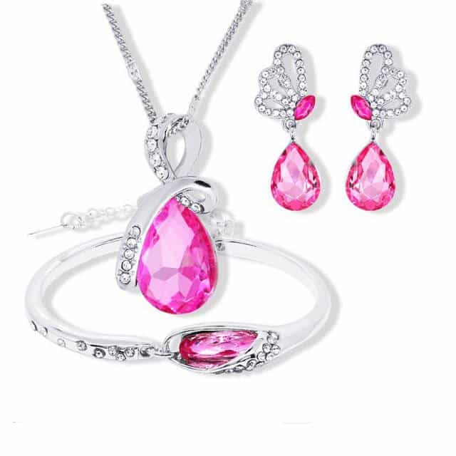 2018 New Wholesale Austrian Crystal Jewelry Sets, purple red, purple red, [option2], [option3] - anythinganyware