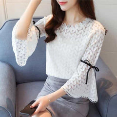 2018 Spring Fashion Solid Lace Shirts Women Blouses, white / XXL, white, XXL, [option3] - anythinganyware