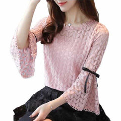 2018 Spring Fashion Solid Lace Shirts Women Blouses, pink / XXL, pink, XXL, [option3] - anythinganyware