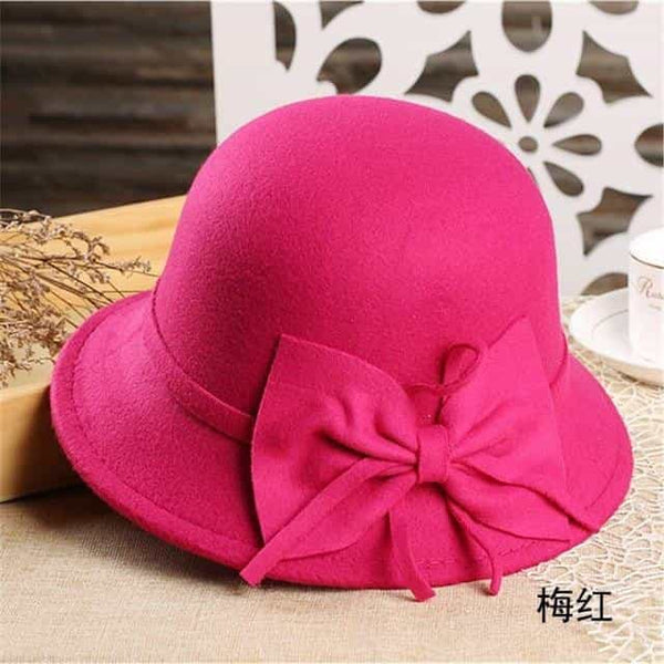 bow knotted wool cap female, Red, Red, [option2], [option3] - anythinganyware