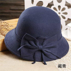 bow knotted wool cap female, Green, Green, [option2], [option3] - anythinganyware