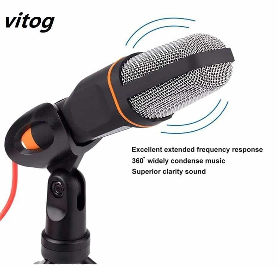 2019 3.5MM studio Stage Wired Microphone, White, White, [option2], [option3] - anythinganyware