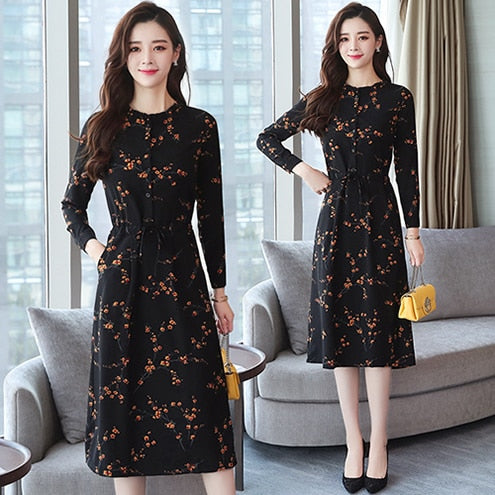 2019 Autumn Winter New Black Floral Vintage Dress, Black / XXXL, Black, XXXL, [option3] - anythinganyware