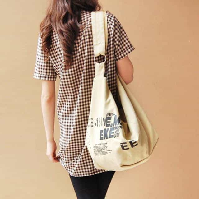Korean Over Shoulder Bags  Irregular Canvas, Beige, Beige, [option2], [option3] - anythinganyware