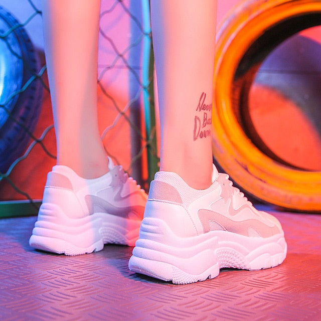 2019 Chunky Sneakers Fashion Women Vulcanize Shoes, White / 6, White, 6, [option3] - anythinganyware