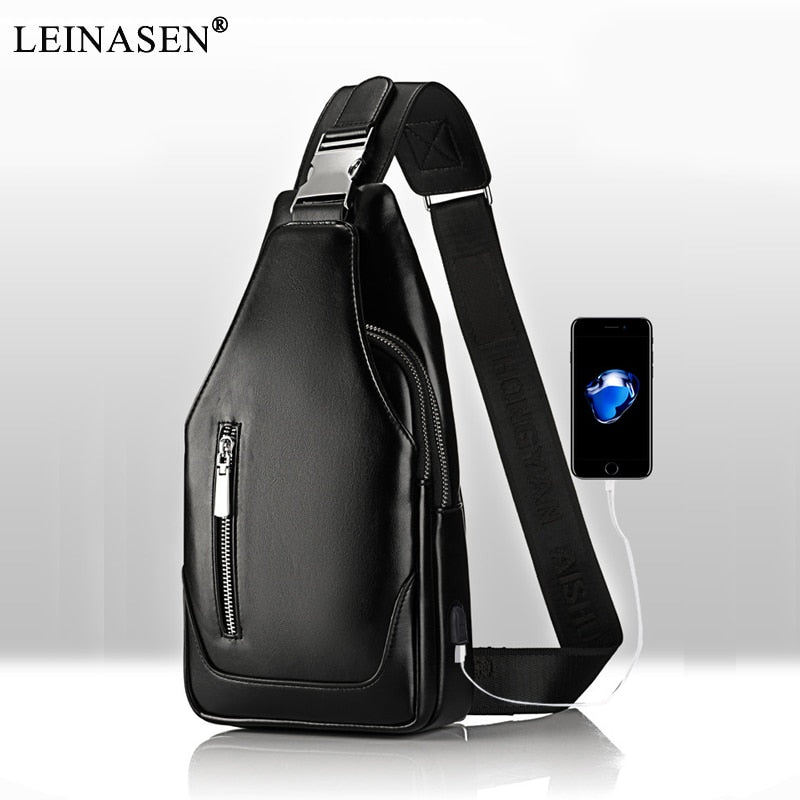 Men Messenger Designer PU Leather Small Chest Bag, [variant_title], [option1], [option2], [option3] - anythinganyware