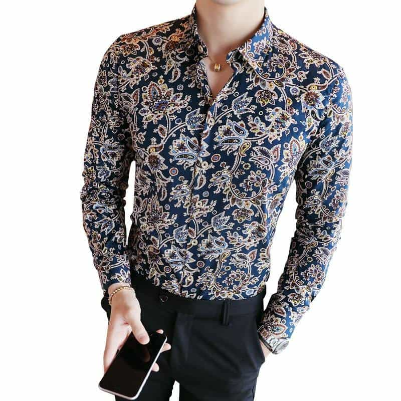 2019 Men's Shirts Retro Floral Printed Man Casual Slim Shirt, [variant_title], [option1], [option2], [option3] - anythinganyware