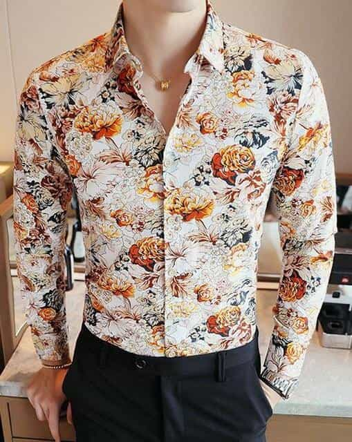2019 Men's Shirts Retro Floral Printed Man Casual Slim Shirt, NO.3 / L, NO.3, L, [option3] - anythinganyware