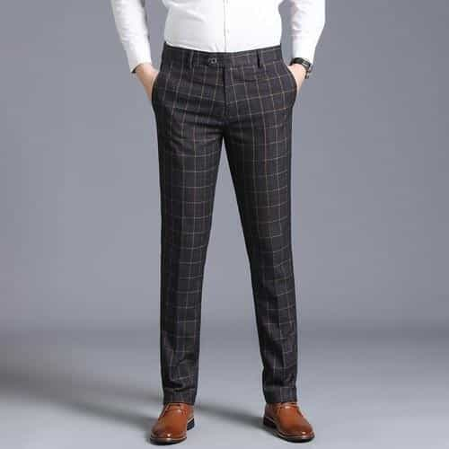 business casual fashion slim pants  plaid wedding pants, Dark Gray / 29, Dark Gray, 29, [option3] - anythinganyware