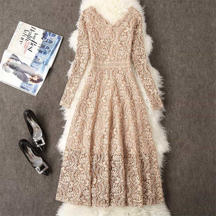 2019 Summer Dress Women Long Sleeve Lace Dress, [variant_title], [option1], [option2], [option3] - anythinganyware