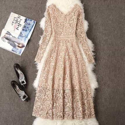 2019 Summer Dress Women Long Sleeve Lace Dress, Khaki / M, Khaki, M, [option3] - anythinganyware