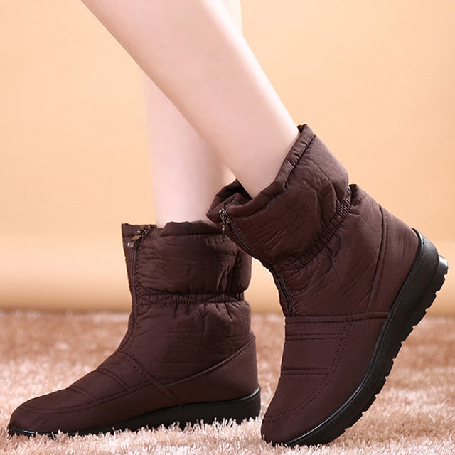 2019 Women Boots Velvet Warm Snow Boots, Brown / 9, Brown, 9, [option3] - anythinganyware
