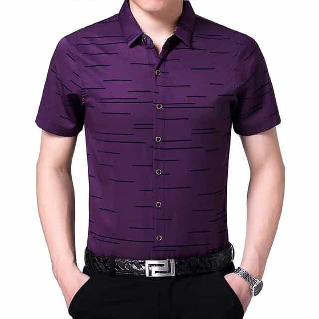 2019 new summer short sleeve men shirt, Purple / M, Purple, M, [option3] - anythinganyware