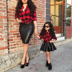 Girls Kids Red Plaid Long Sleeve Tops Shirt Leather, [variant_title], [option1], [option2], [option3] - anythinganyware