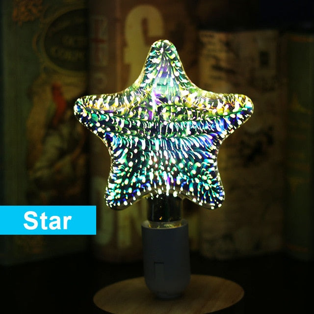 3D Colourful Star LED Edison Bulb E27 220V Lamp, Star / 220V, Star, 220V, [option3] - anythinganyware