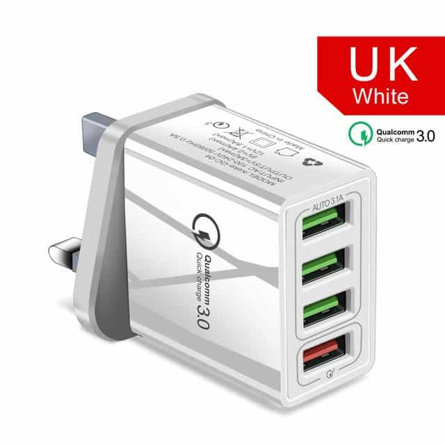 48W Quick Charger 3.0 USB Charger, UK White, UK White, [option2], [option3] - anythinganyware