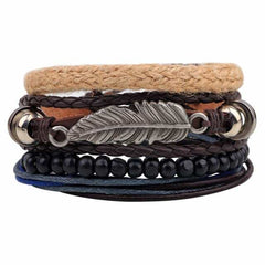 Leather Punk Charm Men Leather Bracelet, type 4, type 4, [option2], [option3] - anythinganyware
