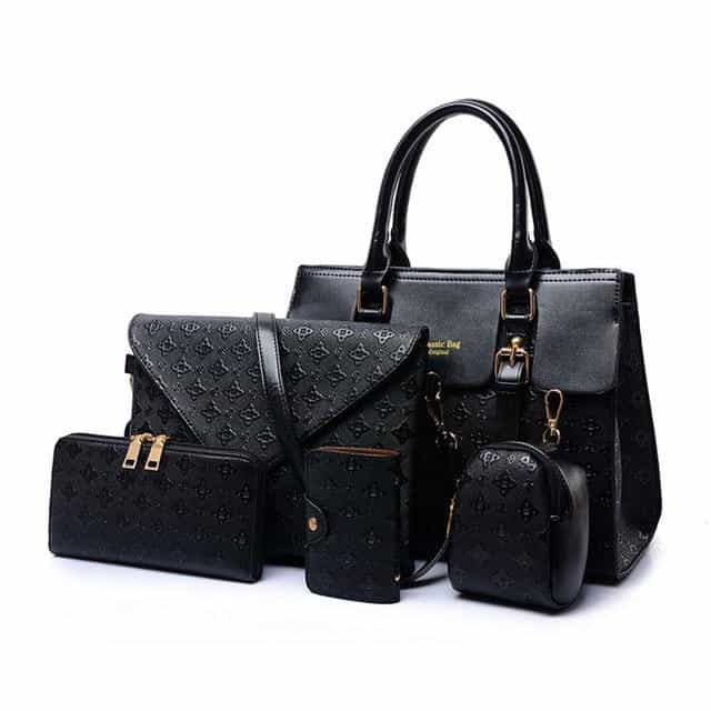 5pcs Bag Set For Women Luxury Handbags Leather, black / (30cm<Max Length<50cm), black, (30cm<Max Length<50cm), [option3] - anythinganyware