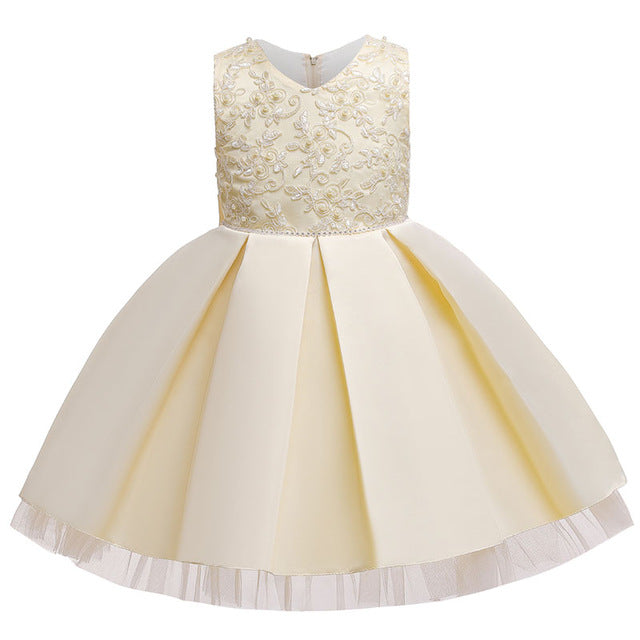 6 Color Floral Wedding Party Clothes Girls princess Dresses, champagne dress / 3T, champagne dress, 3T, [option3] - anythinganyware