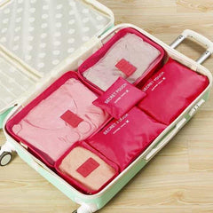 6PCs/Set Travel Bags For Clothes Functional Travel Accessories, Rose, Rose, [option2], [option3] - anythinganyware