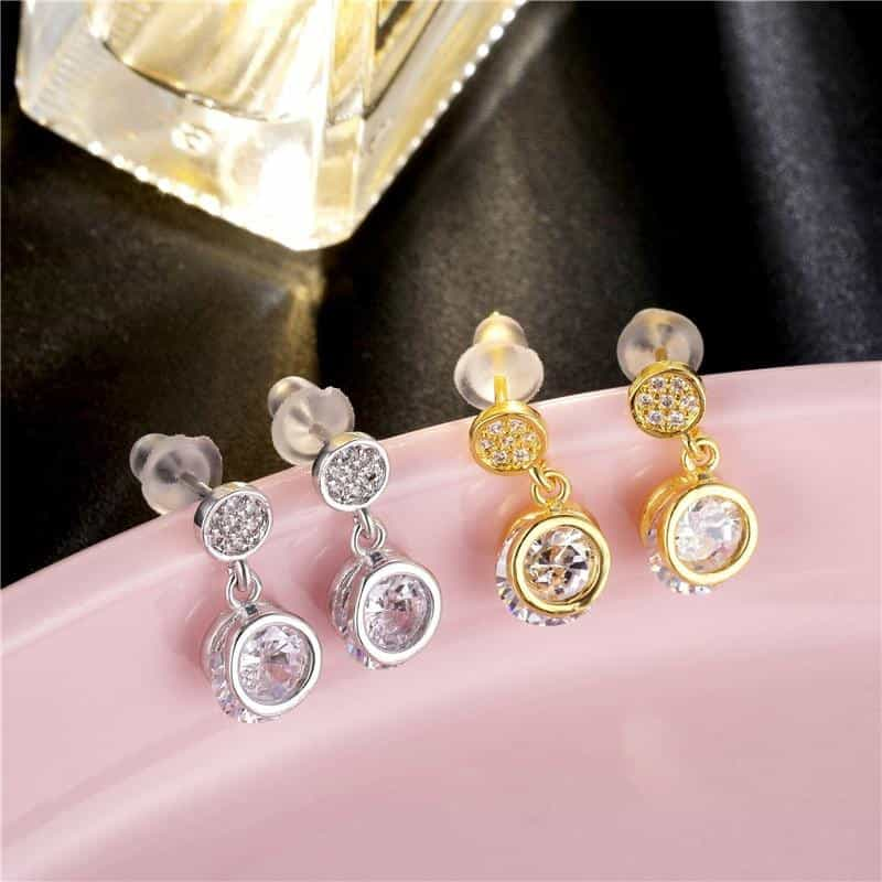 808 STORE Personality Sleek Round Shape Design Crystal Earrings Charm Women Wedding Anniversary Gift Jewellery, [variant_title], [option1], [option2], [option3] - anythinganyware