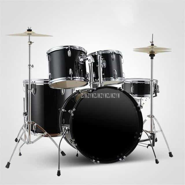 Adult/Child Professional Music Jazz Drum Set Kit, 2 Cymbals Black, 2 Cymbals Black, [option2], [option3] - anythinganyware