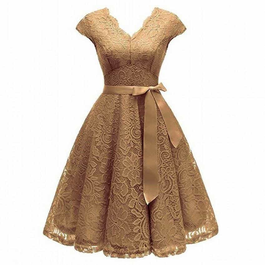 V-Neck Lace Knee-Length Women Dresses With Short, [variant_title], [option1], [option2], [option3] - anythinganyware