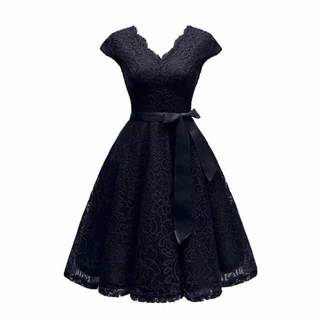 V-Neck Lace Knee-Length Women Dresses With Short, black dress / L, black dress, L, [option3] - anythinganyware