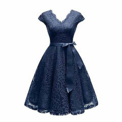 V-Neck Lace Knee-Length Women Dresses With Short, navy blue dress / XXL, navy blue dress, XXL, [option3] - anythinganyware