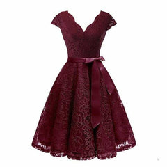 V-Neck Lace Knee-Length Women Dresses With Short, burgundy dress / XXL, burgundy dress, XXL, [option3] - anythinganyware