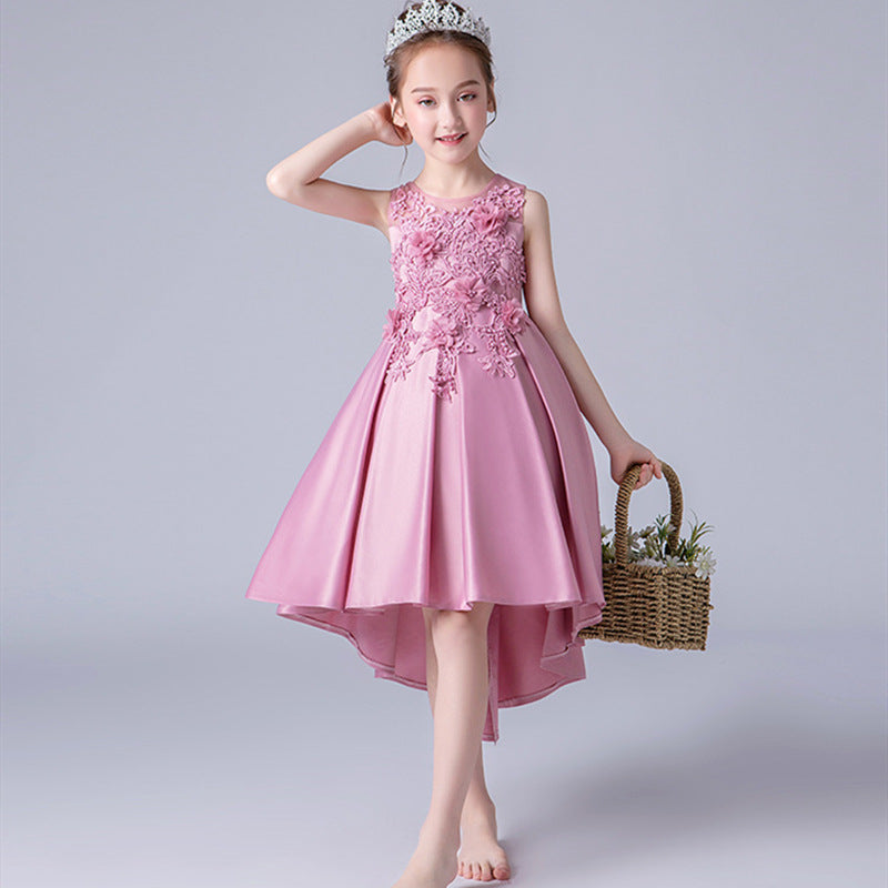 Applique Satin Trailing Girls Dress, [variant_title], [option1], [option2], [option3] - anythinganyware