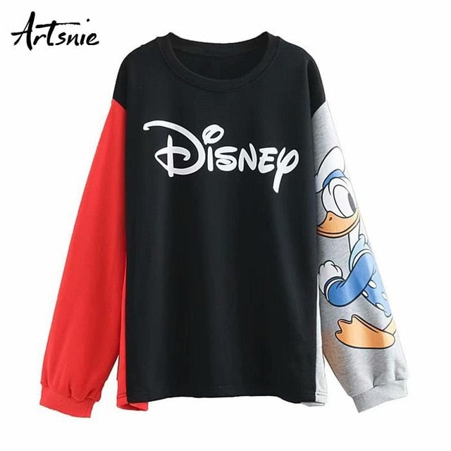 streetwear cartoon print women sweatshirt, Black / S, Black, S, [option3] - anythinganyware
