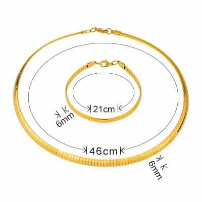 316L Stainless Steel Jewelry Sets, Length46CM Width6MM3, Length46CM Width6MM3, [option2], [option3] - anythinganyware