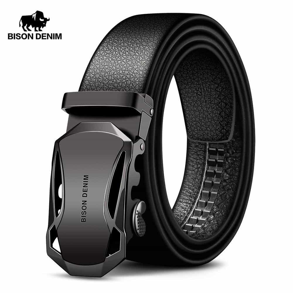BISON DENIM Men's Belt Cow Leather Belts, [variant_title], [option1], [option2], [option3] - anythinganyware