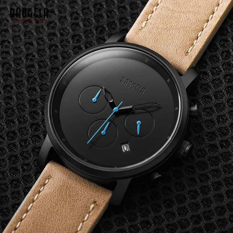 Baogela Mens Simple Chronograph Analogue Black Quartz Watch,, [variant_title], [option1], [option2], [option3] - anythinganyware