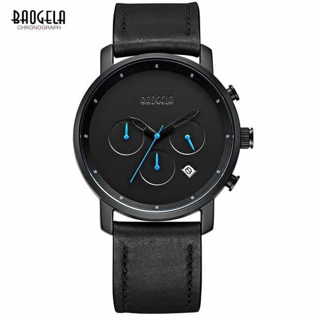 Baogela Mens Simple Chronograph Analogue Black Quartz Watch,, B1705-Black, B1705-Black, [option2], [option3] - anythinganyware