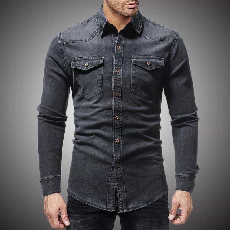 Black Denim Shirt Men Casual Fit Slim Long Sleeve Shirts, [variant_title], [option1], [option2], [option3] - anythinganyware