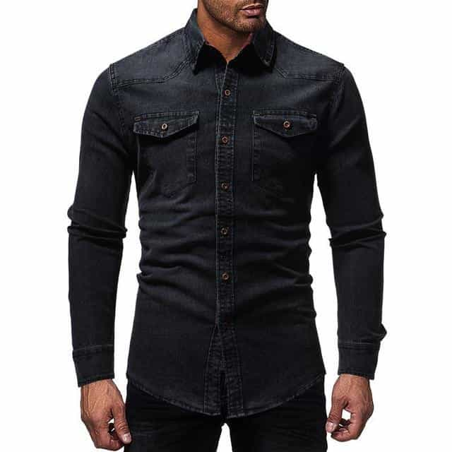 Black Denim Shirt Men Casual Fit Slim Long Sleeve Shirts, black / XXL, black, XXL, [option3] - anythinganyware