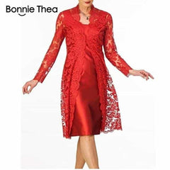 Women's Long Sleeve Two-Piece Lace Dress, Red / XL, Red, XL, [option3] - anythinganyware