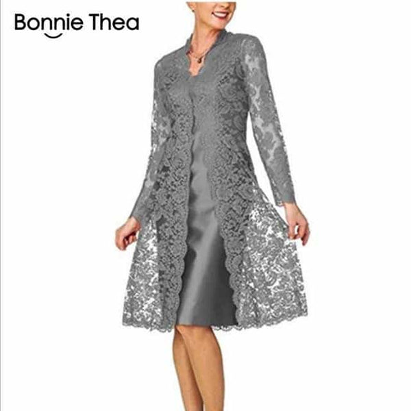 Women's Long Sleeve Two-Piece Lace Dress, Gray / XXL, Gray, XXL, [option3] - anythinganyware